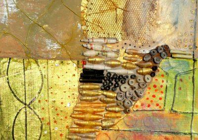 Collage med guld og papirperler