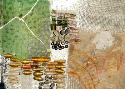 Collage med papirperler og måne