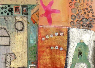Collage med papirperler og skikkelse