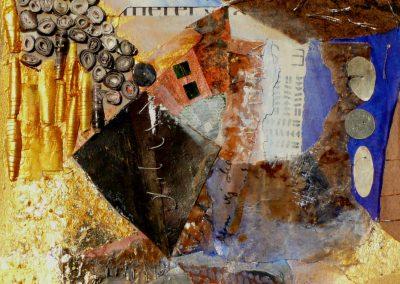 Collage med papirperler og sølv