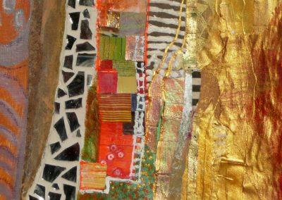 Collage med spejlstykker 34x34